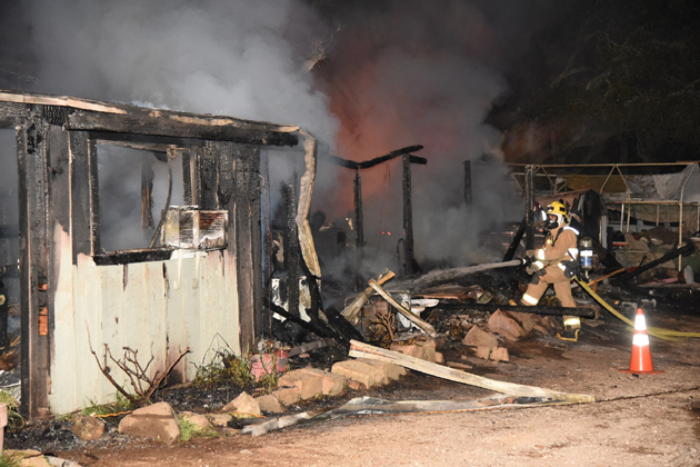 Although the occupants were uninjured, their home was a total loss after a fire at the property in the 6600 block of Stagecoach Road near San Marcos Pass. (Ryan Cullum photo)