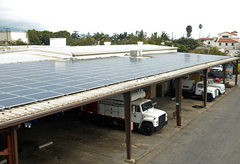 Santa Barbara's new solar panel network utilizes available roof space on city structures along Garden and Laguna streets.