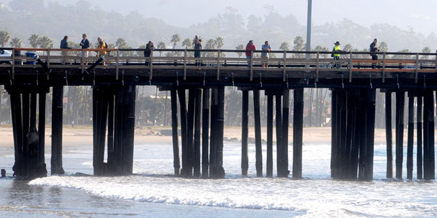 <p>Several dozen people gather at Stearns Wharf on Friday morning to watch elevated swells roll in from a large tsunami generated by an earthquake off Japan&#8217;s northeastern coast.</p>