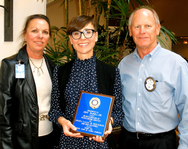 Goleta Valley Junior High School teacher Amy McMillan accepts her Teacher Recognition Award from members of the Rotary Club of Santa Barbara. (Rotary Club of Santa Barbara photo)