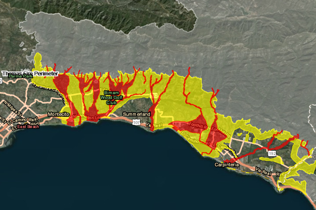 The Santa Barbara County map for South Coast communities below the Thomas Fire burn area shows communities at extreme risk of dangerous debris flows, in red, and high risk, in yellow.