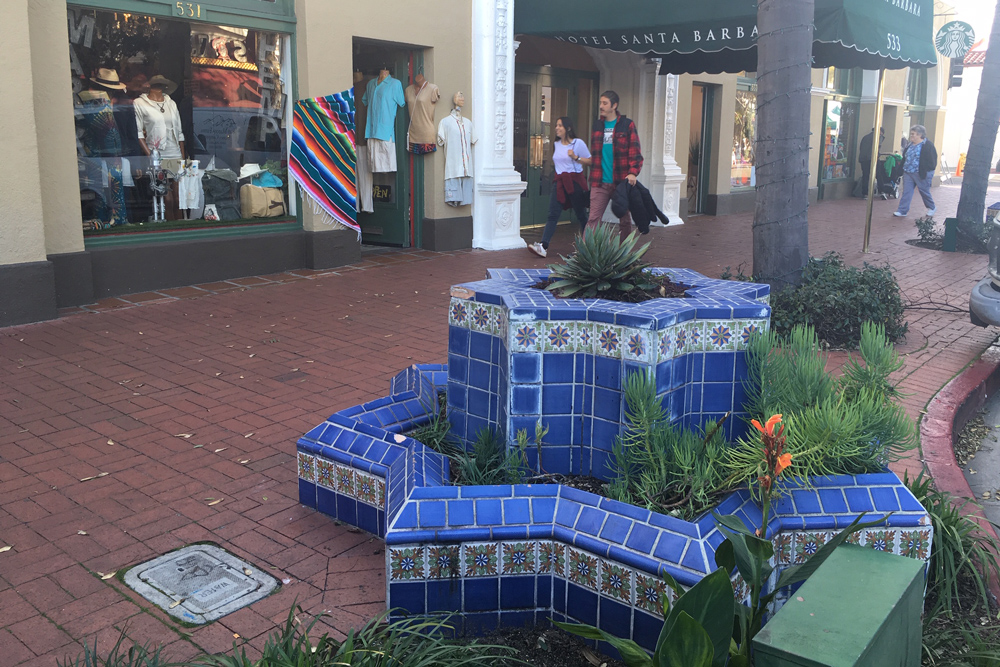 A fountain in front of a hotel on the 500 block of State Street in downtown Santa Barbara.
