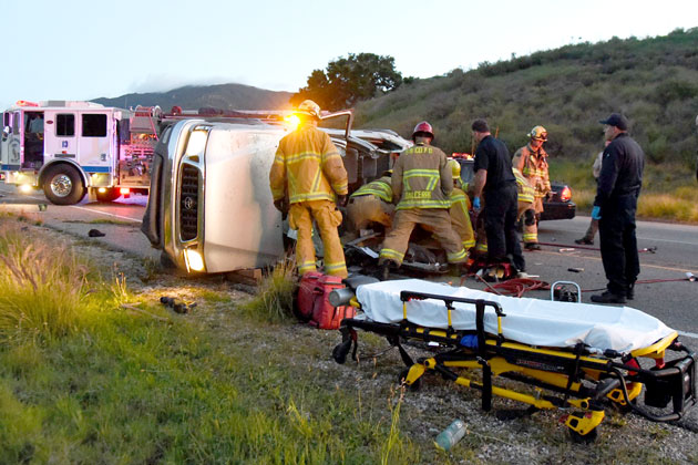 A driver suffered moderate injuries early Sunday when a pickup truck overturned on Highway 154 near Santa Barbara.