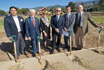 Breaking ground Tuesday on a new medical office park on the Foothill Triangle property at Foothill and Cieneguitas roads in Santa Barbara were, from left, Craig Minus and Michael Towbes of The Towbes Group, Vicki Hazard of Sansum Clinic, City Councilman Randy Rowse, Craig Zimmerman of The Towbes Group and Kurt Ransohoff of Sansum Clinic. (Nik Blaskovich photo)