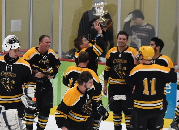 Chris Wood hoists the championship cup after the Cavaliers defeated the UCSB Club Team for the Advanced Division title in the Santa Barbara Adult Hockey League at Ice in Paradise.