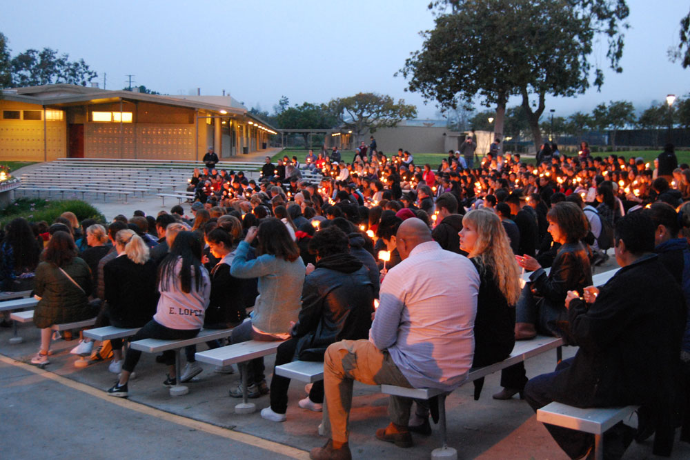 A candlelight vigil was held Tuesday night at Carpinteria High School to remember senior Filiberto Hernandez, who died in a fall from the Carpinteria bluffs.