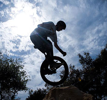 Dennis D'Alfonso does a balancing act on the Jesusita Trail.