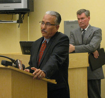 Santa Barbara Police Chief Cam Sanchez, left, worked with city attorney Steve Wiley to develop the gang injunction and review it before filing it in Santa Barbara County Superior Court.