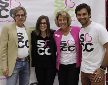 Neil Kreisel, left, board president of the Foundation for SBCC, joins foundation executive director Vanessa Patterson, SBCC Superintendent/President Lori Gaskin and Sam Terrell, president of Phi Theta Kappa at SBCC, at Friday's kickoff event. (Gabriella Slabiak / Noozhawk photo)