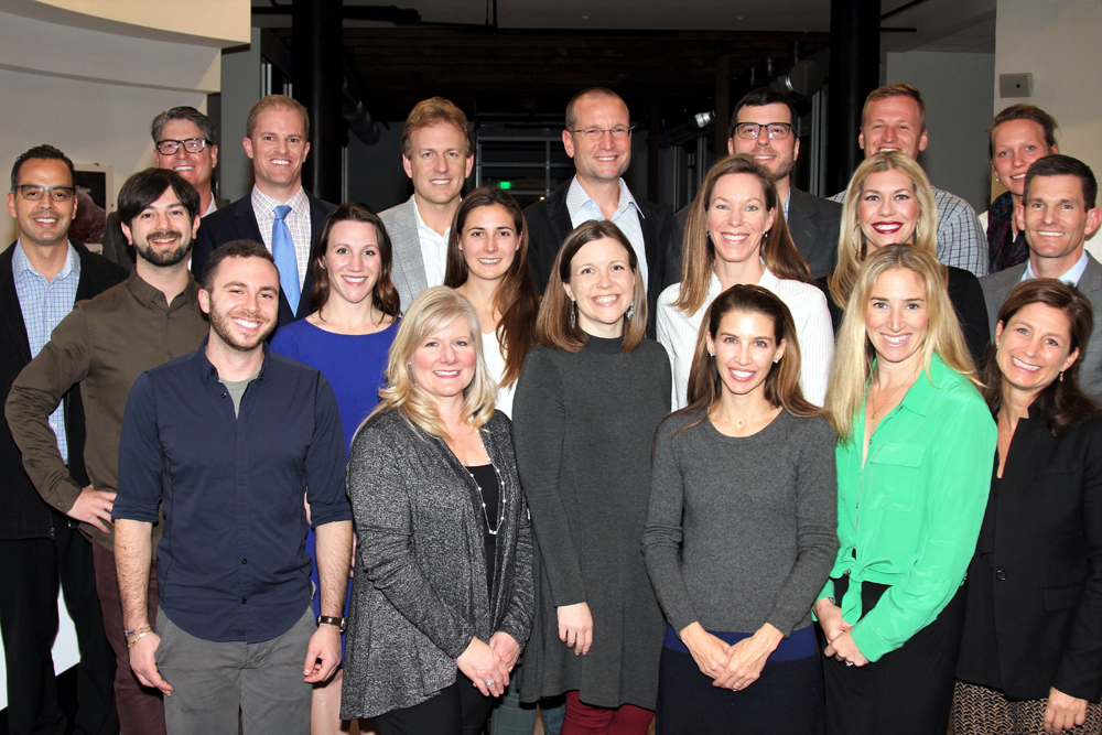 Carrie Randolph, front row at far right, Leading From Within executive director and Katherine Harvey Fellows instructor, and instructor Jim Morouse, back row at far left, with the 2017-18 class of Katherine Harvey Fellows.