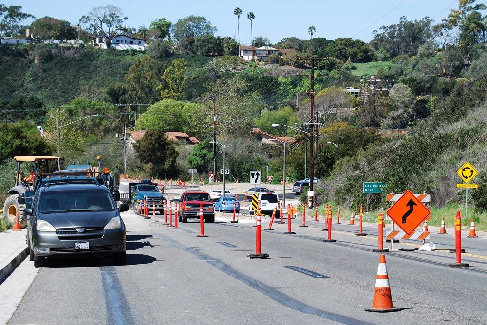 Crews continue to work on the roundabout at Cliff Drive and Las Positas Road in Santa Barbara.