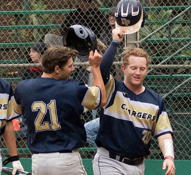 Isaac Coffey (21) and Evan Kling celebrate at home plate after Coffey's two-run homer.