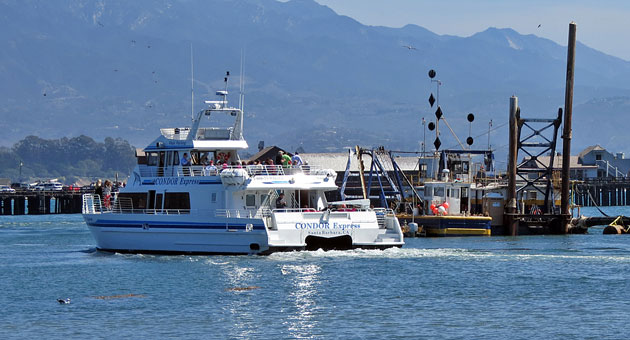<p>The Condor Express whale-watching boat sets sail Monday afternoon from the Santa Barbara Harbor on its second day of full operation since a storm that slammed the area more than two weeks ago.</p>