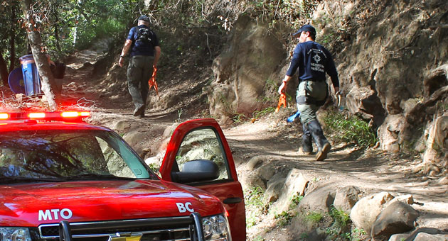 Emergency personnel head up the Cold Spring Trail in the Montecito foothills Monday after a hiker was found dead and his companion seriously injured. (Urban Hikers photo)