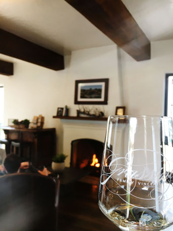Grassini Family Vineyards' new digs feature fireside seating.