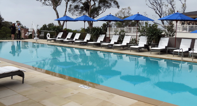 The pool at the El Encanto Hotel in Santa Barbara was completely rebuilt, with a fitness center underneath. (Gina Potthoff / Noozhawk photo)