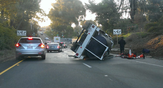 <p>A tank truck overturned Tuesday on the southbound Carrillo Street offramp from Highway 101 in Santa Barbara.</p>
