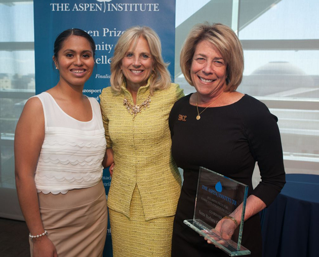 SBCC student Edith Rodriguez, left, and SBCC President Lori Gaskin, right, take a photo with Dr. Jill Biden, wife of Vice President Joe Biden, at the Aspen Institute luncheon on Tuesday in Washington, D.C. SBCC was named a co-winner of the 2013 Aspen Prize for Community College Excellence. (Patrice Gilbert photo)
