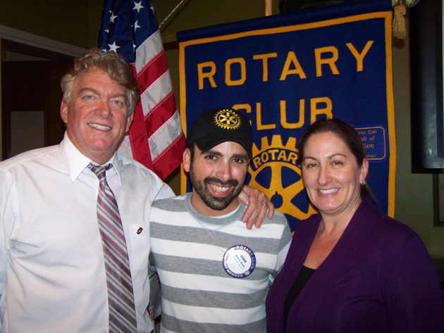 <p>Rotary Club of Goleta president Mike Pitts, left, and president-elect Frances Gilliland, right, with Brian Rocha, the club&#8217;s media chairman who recently visited several countries and Rotary clubs around the world.</p>