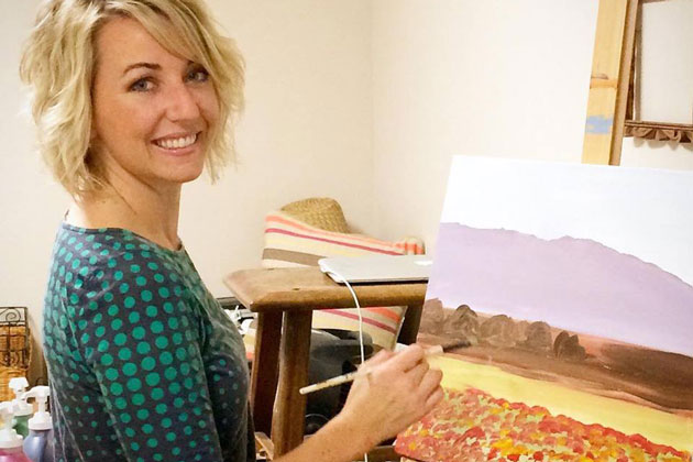 Christi Schaeffer founded her business, Gypsy Studios, in the Santa Ynez Valley, and teaches painting while sipping wine at local vineyards.
