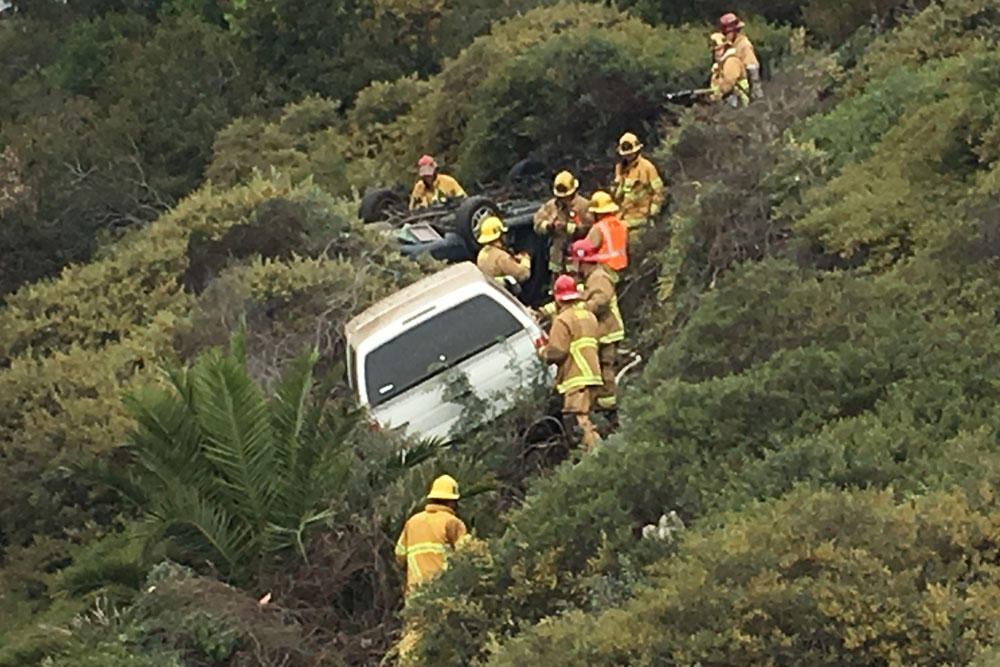 No injuries were reported Sunday in a collision on Highway 101 in Santa Barbara. The vehicles ended up off the roadway, with one overturned and on fire.