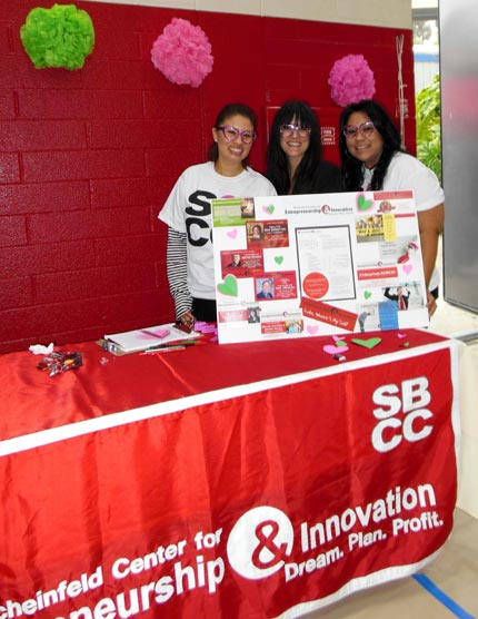 The booth for SBCC's Scheinfeld Center for Entrepreneurship & Innovation was represented by Director Antwanette Ramirez, left, Melissa Moreno and Susana Ortega.