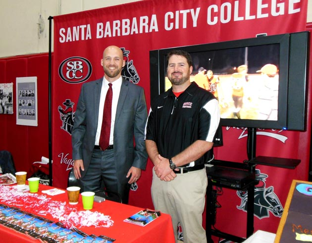 Ryan Byrne, left, and Jason Fowle represent the SBCC Athletic Department.