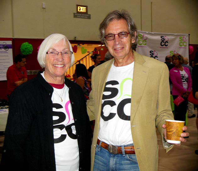 Campaign member and trustee Marty Blum and Foundation for Santa Barbara City College board president Neil Kreisel show off their school pride at Friday's kickoff event for the Campaign for Student Success.