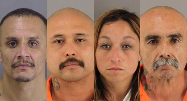 Reyes Gonzales Jr., from left, Ramon Maldonado, Carmen Cardenas and Pedro Torres face charges in the death of Anthony Ibarra, 28, of Santa Maria, who was found dead Tuesday inside a rental truck parked in an Orcutt residential neighborhood. (Santa Barbara County Sheriff's Department photos)
