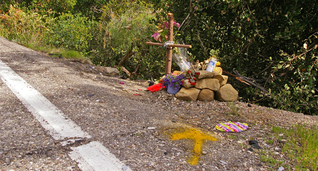 <p>A memorial has been placed along Foothill Road in Santa Barbara, at the place where Raul Ibarra, 24, was fatally injured March 2 during what Santa Barbara County prosecutors alleged was a race involving three motorcycles. Francisco Rodriguez, 23, and Jonathan Leon, 24, have been ordered to trial on felony vehicular-manslaughter and other charges.</p>