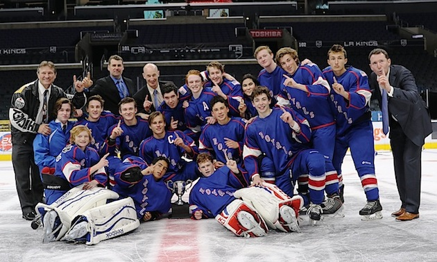 The Santa Barbara Royals are the first champions of the Los Angeles Kings High School Hockey League. They defeated the Kern County Knights at Staples Center in Los Angeles.