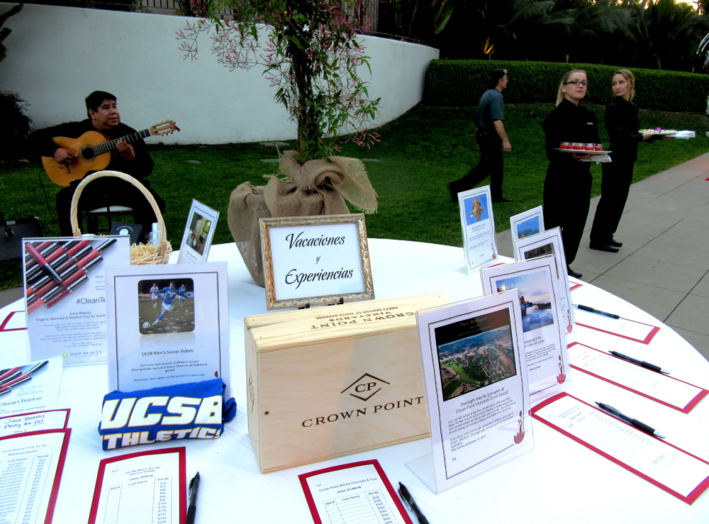 The silent auction tables were loaded with items.