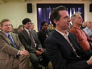 Later in the town hall session, San Francisco Mayor Gavin Newsom, right, discussed mental health services with Roger Thompson of the Consumer Advocacy Coalition, left.