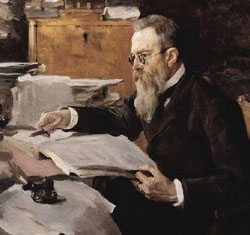 Nikolai Rimsky-Korsakov painted by Valentin Serov a decade after he wrote the Russian Easter Overture