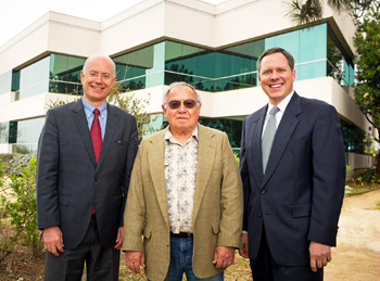 Local investor Victor Schaff, center, standing with Radius Commercial Real Estate & Investments broker Bob Tuler and Hayes Commercial Group broker Greg Bartholomew, has purchased the 50,955-square-foot office building at 6267 Carpinteria Ave. in Carpinteria. (Brad Elliott photo)