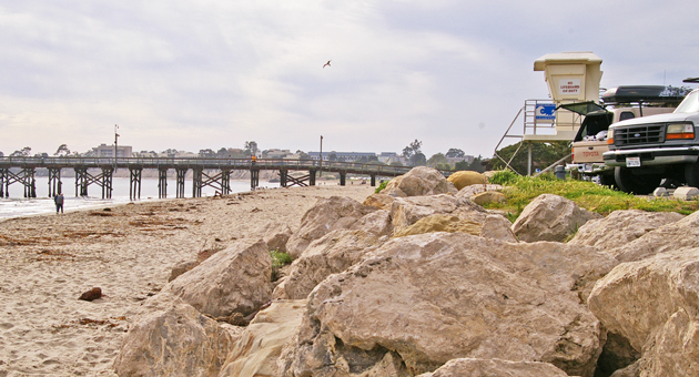 <p>Large rocks that have been placed along the parking lot at the east end of Goleta Beach County Park are among the items being studied as part of the environmental review for Santa Barbara County&#8217;s plan to manage erosion.</p>