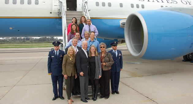 Vice President Joe Biden, front center, and his wife, Jill, front left, meet with teachers and administrators from the Santa Barbara Unified School District after touching down Friday at the Santa Barbara Airport. (Santa Barbara Unified School District photo)
