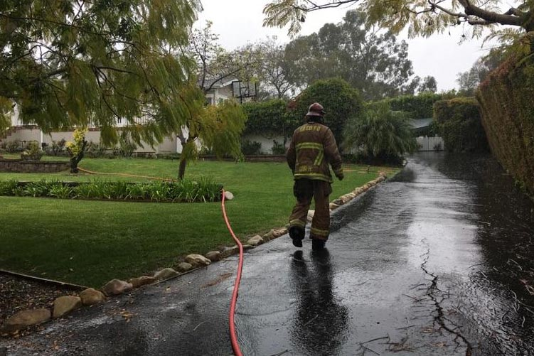 Santa Barbara County Fire crews extinguished a laundry room fire Tuesday morning in a home on El Sueno Road.