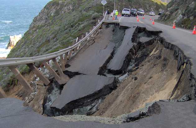 The roadbed slid out from under a section of Highway 1 last week, forcing the roadway's closure between the Bixby Creek Bridge and Palo Colorado Road south of Carmel.