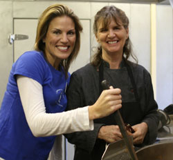 Jennifer Guess, left, works on a culinary creation with Laurel Lyle, executive chef at Peabody Charter School