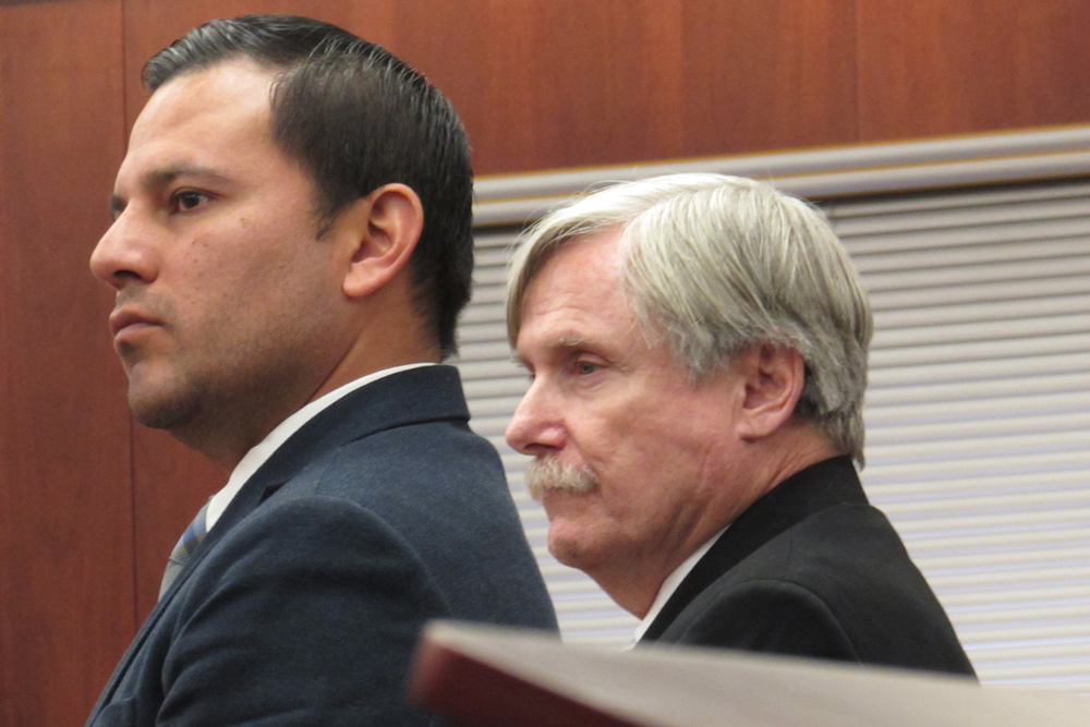 Defense attorney Adrian Galvan stands next to his client Clay Martin Burt Murray, right, in a Santa Maria courtroom Friday where a jury found the Lompoc man guilty of first-degree murder for the fatal shooting of Rebecca Maxine Yap in his home.