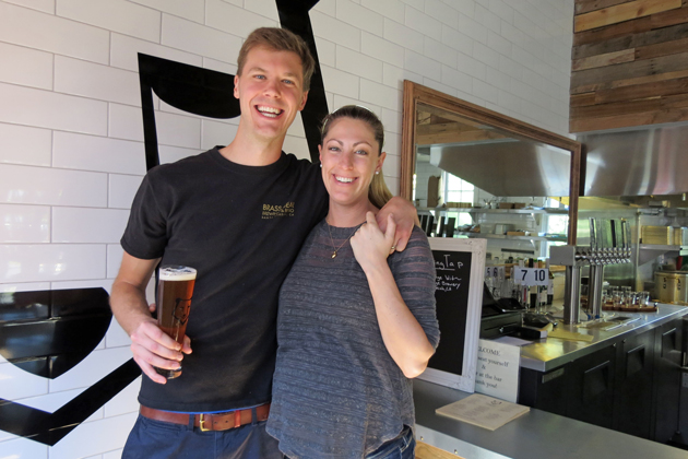 Seth and Lindsay Anderson recently opened Brass Bear Brewing in the Funk Zone in the building fronted by Kunin Winery. They sell local beer, wine and bubbly, along with food made with Santa Barbara-area ingredients.