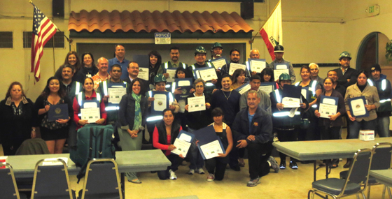 Participants in the City of Goleta's first Community Emergency Response Team (CERT) training conducted entirely in Spanish celebrate their graduation along with their trainers, city staff and Mayor Pro Tempore Michael Bennett. (City of Goleta photo)