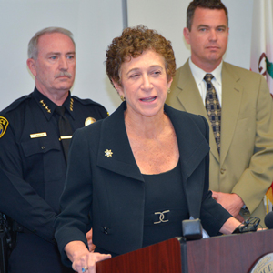 Santa Barbara County District Attorney Joyce Dudley speaks Monday about the torture and killing of Anthony Ibarra, 28, of Santa Maria last week. (Frank Cowan / Noozhawk photo)
