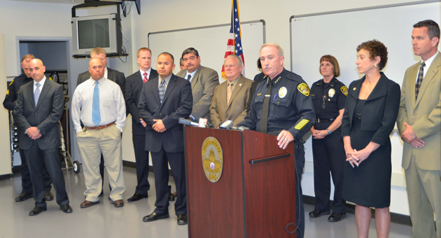 <p>Santa Maria Police Chief Ralph Martin speaks to reporters Monday about the slaying of Anthony Ibarra, who authorities allege was tortured before he was killed. Eight people face charges in connection with the killing.</p>