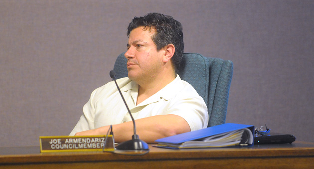 Carpinteria City Councilman Joe Armendariz listens to the council discuss his appointments on Monday night. Armendariz did not comment during the meeting on his replacements and abstained from voting on the item.