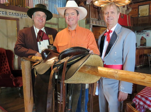 <p>Old Spanish Days Fiesta Second Vice Presidente Cas Stimson, left, El Presidente Josiah Jenkins and First Vice Presidente Dennis Rickard gather Wednesday at the historic Carriage &amp; Western Art Museum for a kickoff news conference for this year&#8217;s event.</p>