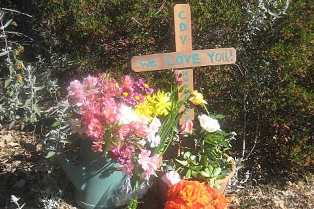 Tributes and commemorations pile up near where 15-year-old Carina Velazquez was struck by a vehicle while walking home from Santa Ynez Valley Union High School. (Kimberley Grant photo)