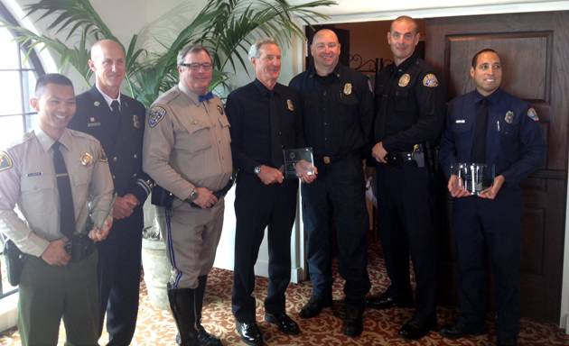 <p>From left, sheriff's Deputy Dave Maupin, Santa Barbara County Fire Capt. Robert Beeson, CHP Officer Jim Mann, wildland fire specialist Jeff Saley, Santa Barbara Fire Battalion Chief Jim McCoy, Detective Ben Ahrens, and Carpinteria firefighter and paramedic Gabe Aubert. Not pictured: senior marine inspector William DeCamp and Petty Officer Luke Shield.</p>