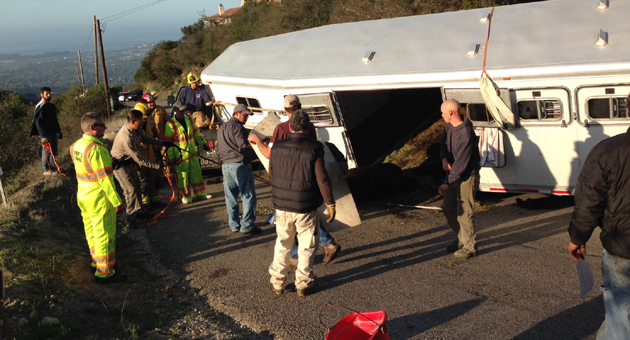 A hairpin turn got the better of a horse trailer, and the accident injured all eight of the horses inside, including two fatally. (Paul Mihalec / KEYT News photo)